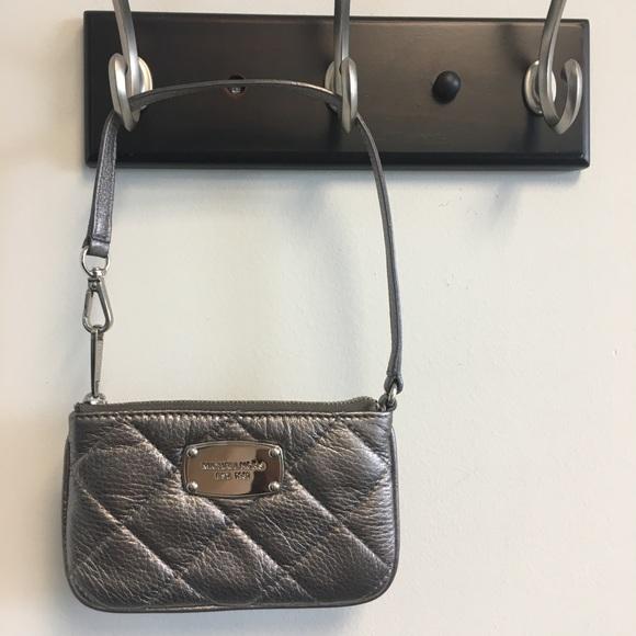 MICHAEL Michael Kors Handbags - MK Hamilton Quilt Gunmetal leather wristlet